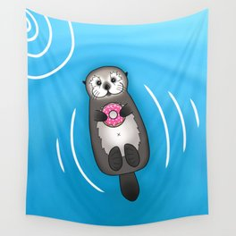 Sea Otter with Donut - Cute Otter Holding Doughnut Wall Tapestry