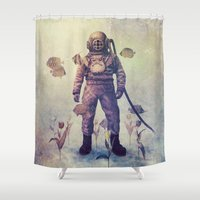 garden Shower Curtains featuring Deep Sea Garden - colour option by Terry Fan