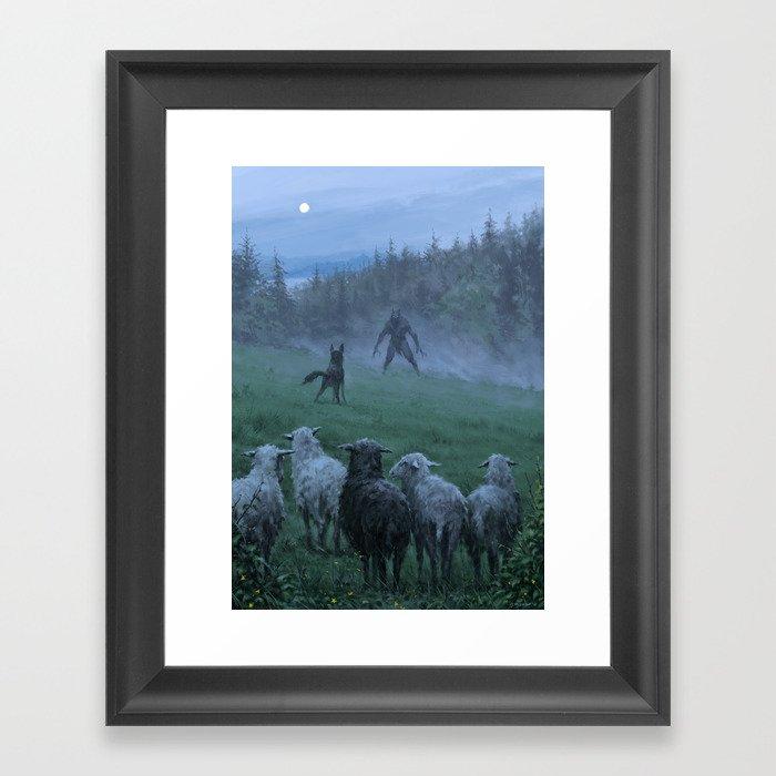 Shepherd and his faithful dog Gerahmter Kunstdruck