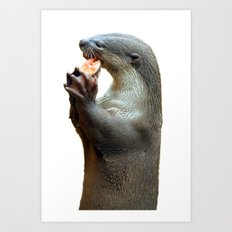 Smooth Coated Otter Eating Fish Art Print
