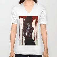 skyfall V-neck T-shirts featuring Skyfall by Caroline Ward