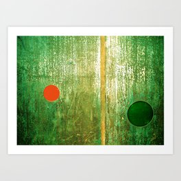 Metallic Face (Green Version) Art Print
