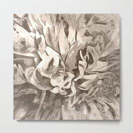 Painted Peony Sepia Cocoa Metal Print