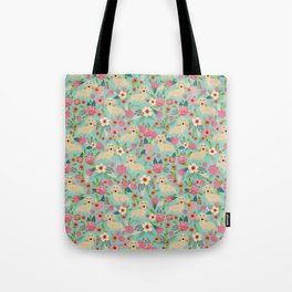 Dachshund longhaired cream doxie floral dog breed pet gift for dachsie lovers must haves Tote Bag