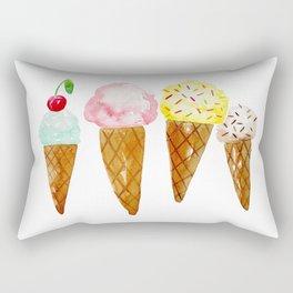 Ice Creams, Watercolor Ice Creams Rectangular Pillow