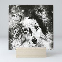 border collie dog 5 portrait wsbw Mini Art Print