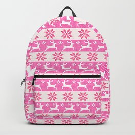 Watercolor Fair Isle in Pink Backpack