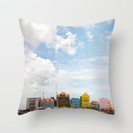 Colorful houses Willemstad Throw Pillow