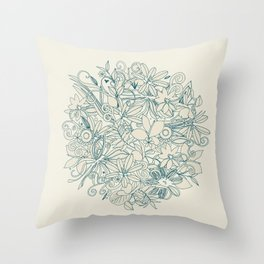 Denim flower circle Throw Pillow