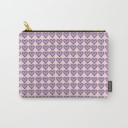 Navy Heart Pattern on Soft Pink Carry-All Pouch