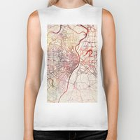 louis Biker Tanks featuring Saint Louis by MapMapMaps.Watercolors
