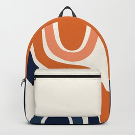 Abstract Shapes 29 in Burnt Orange and Navy Blue Backpack