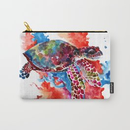 Sea Turtle, Coral Reef, Sea world design Red Purple Blue Carry-All Pouch