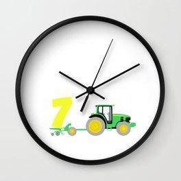 Kinder 7. Geburtstag Ich bin schon 7 Jahre Traktor Trecker  Wall Clock