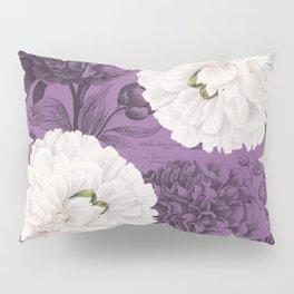 White Peony Purple Collage Pillow Sham