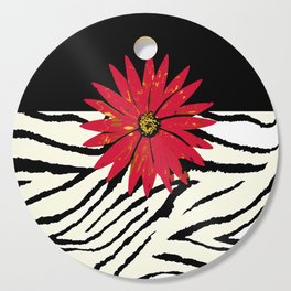 Animal Print Zebra Black and White and Red flower Medallion Cutting Board