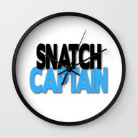 snatch Wall Clocks featuring Snatch Captain by Raunchy Ass Tees