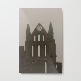 Whitby Abbey in the Fog Metal Print