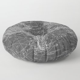 Black and White World Map (1901) Inverse 2 Floor Pillow