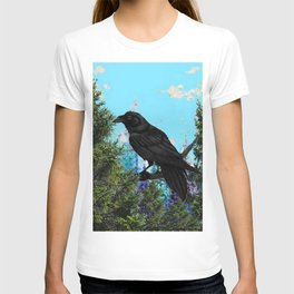 CROW &  Mountain Landscape Pines In Blue-Greens T-shirt