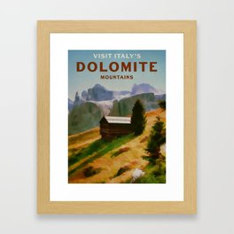Italy Dolomite Mountains Travel Poster Vintage Style Framed Art Print