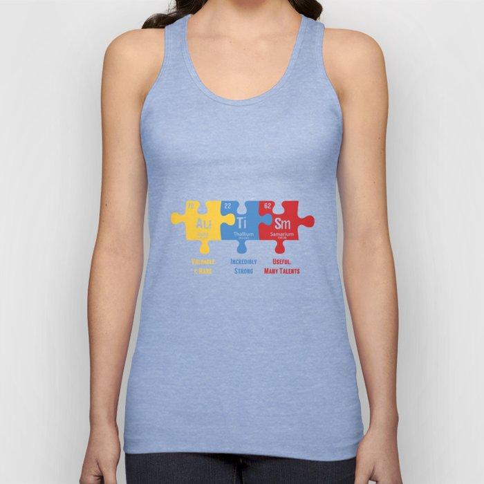 Autism Awareness Puzzle Periodic Elements Autistic Behavior Men Women T Shirt Unisex Tank Top