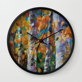 Birch trees - Palette Knife  Wall Clock