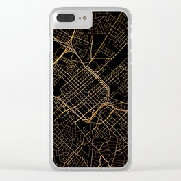 Black and gold Charlotte map Clear iPhone Case