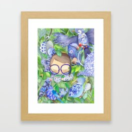 A boy with birds, for nature and tea lovers :) Framed Art Print