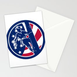 American Lineworker USA Flag Icon Stationery Cards