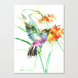 Hummignbird and Flowers Canvas Print