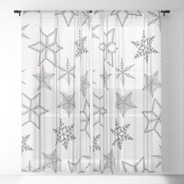 Grey Snowflakes On White Background Sheer Curtain