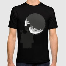 Looking the moon Mens Fitted Tee Black LARGE