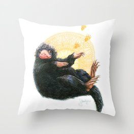 Niffler, based on Fantastic Beasts movie Throw Pillow