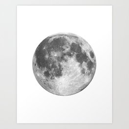 Full Moon phase print black-white monochrome new lunar eclipse poster home bedroom wall decor Art Print
