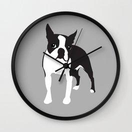 BOSTON TERRIER - Grey Wall Clock