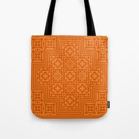 orange pattern Tote Bags featuring Orange Pattern by Timothy M. LeBlanc