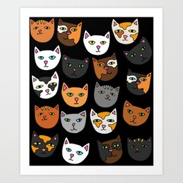 Kitty Cats Everywhere Art Print