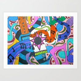Music Sugar Skull Art Print