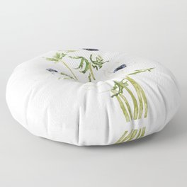 white anemone flower  watercolor painting Floor Pillow