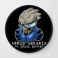 garrus Wall Clocks featuring Garrus Vakarian Is My Space Boyfriend by Maggie Davidson