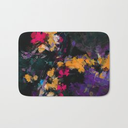 Purple and Yellow Abstract / Surrealist Painting Bath Mat