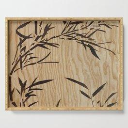 Japanese bamboo buddha wood art Serving Tray