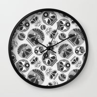 sugar skulls Wall Clocks featuring SUGAR SKULLS by Kiley Victoria