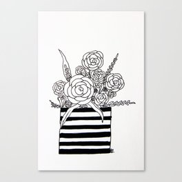 Black and White Vase with Flowers Canvas Print