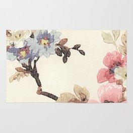 Pink & Blue Vintage Floral Design Rug
