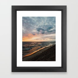 Vibrant Sunset on Lake Michigan Framed Art Print