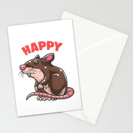 Rat Makes Me Happy Mouse Mice Animal Pet Rodent Gift Stationery Cards