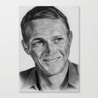 steve mcqueen Canvas Prints featuring Steve Mcqueen by Kirstyturnerportraits