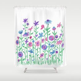 Cheerful spring flowers watercolor Shower Curtain